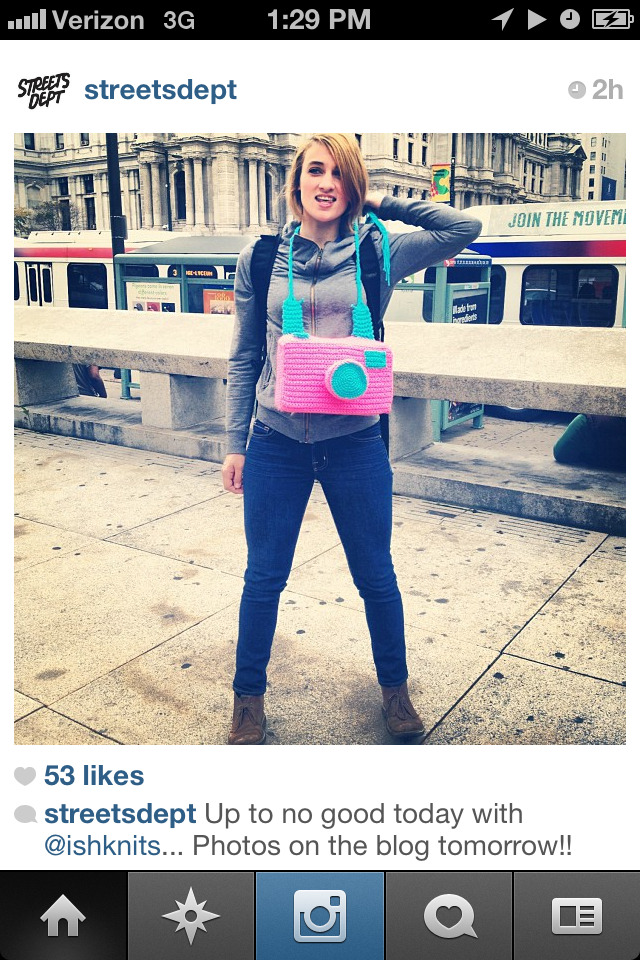 PHILLY HIJINKS WITH ISHKNITS & STREETSDEPT Hmm…I think Philly Yarn Bomber @ishknits and photographer @streetsdept are up to something. They just posted this…stay on the outlook at the @streetsdept instagram account.  *photo from streetsdept instagram
