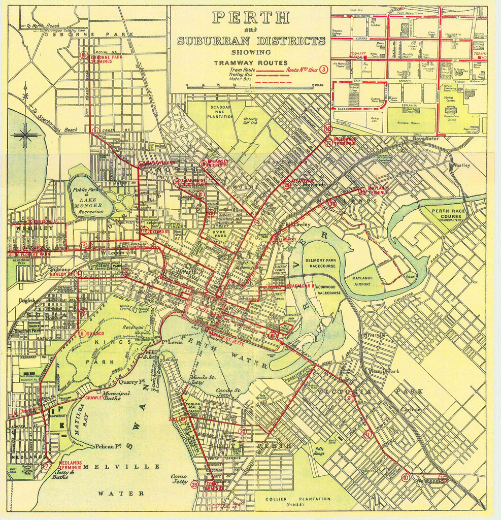 "Historical Map: Perth and Suburban Districts Showing Tramway Routes The extent of the tramway system in Perth, Australia in the 30s and 40s before it was all ripped up in 1958. Ironically the State Government wants to build a new tram network over 50 years later. — Transit Maps says: Sweet old school tram map, with routes simply and clearly overprinted in bold red on top of a street map. Perth certainly isn't alone in rebuilding what once existed: this type of urban renewal through transit is happening all over the place, especially here in the US. However, is ""MAX"" really the best name Perth could come up with? Portland, Oregon and Las Vegas already use the same acronym (Metropolitan Area Express), there's also a Modesto Area Express in California, while Salt Lake City also has its own MAX (which doesn't seem to stand for anything). Not forgetting Auckland's MAXX with an extra ""X"" as well. A little originality, please!"