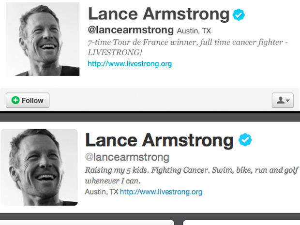 "nationalpostsports:  Lance Armstrong deletes Tour de France titles Having won seven Tour de France titles is no longer part of Lance Armstrong's Twitter profile. As late as Monday night, Armstrong's bio on the social media site included a mention of his seven Tour wins from 1999-2005, but reference to the race was removed hours after he was stripped of the titles by the International Cycling Union and banned from the sport for life for his involvement in what the U.S. Anti-Doping Agency described as a massive doping program. Early Tuesday, Armstrong's profile said: ""Raising my five kids. Fighting Cancer. Swim, bike, run and golf whenever I can."" Previously, the profile said: ""Father of 5 amazing kids, 7-time Tour de France winner, full time cancer fighter, part time triathlete."""