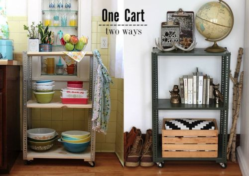 DIY shelving unit, two ways via A Beautiful Mess