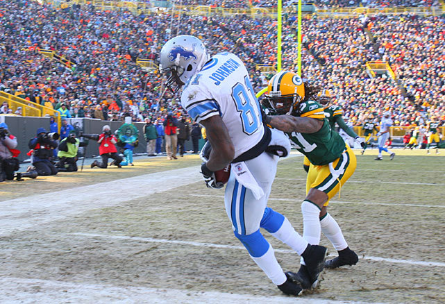 It's been a disappointing season for Calvin Johnson, who has caught just one touchdown so far through Detroit's first six games. Last season, Johnson averaged one touchdown reception per game. In Peter King's latest column, Lions QB Matt Stafford takes the blame for Johnson's performance, saying that he needs to just force the ball more to Detroit's star receiver. (Damian Strohmeyer/SI) KING: Stafford has solution to Detroit's struggles