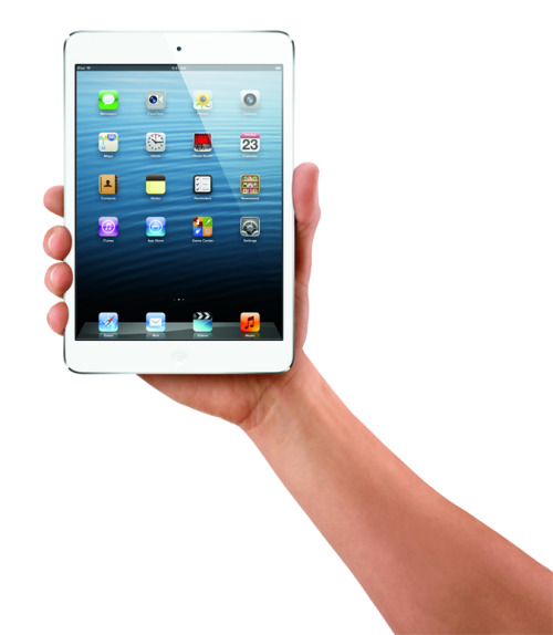 thedailyfeed:  Apple finally unveiled the iPad mini!  It's as thin as a pencil and weighs .68 lbs — about as much as a pad of paper. Prices start at $329, and preorder begins this Friday.  That's about 300g! 300 bloody grams! That's the weight of a bag of famous amos cookies! My dear shoulder would be so so happy after lugging the iPad2 that's twice that weight.  Why-o-why is it NOT retina display and costs a hefty RM1900 (approx. price for the 32GB one). Anyone want to buy this for my birthday?