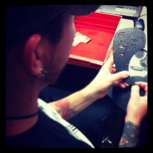 Martin's Sean working on custom pickguard inlay! #craftsman