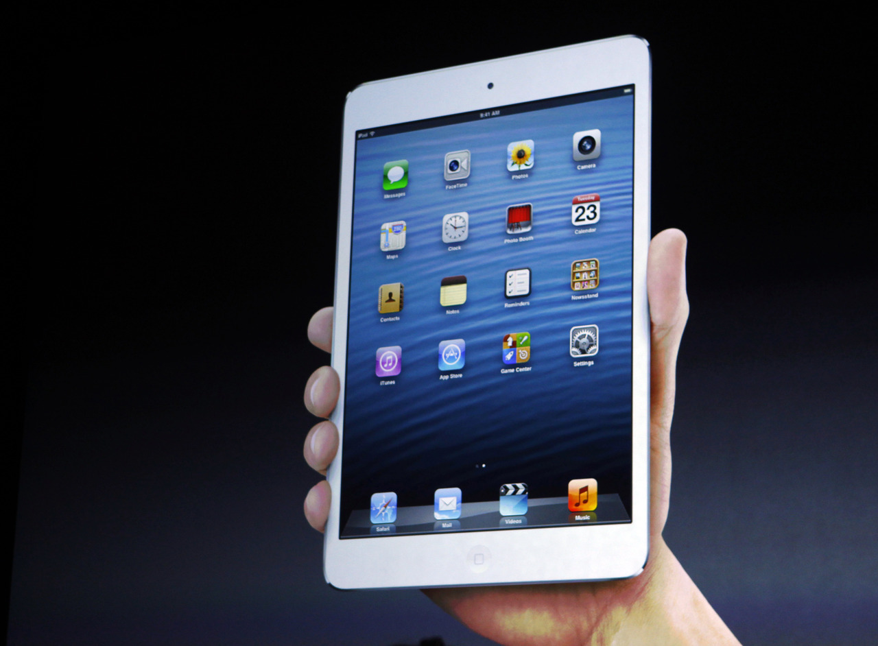 "Apple Inc took the wraps off an 8-inch tablet on Tuesday in its biggest product move since the debut of the iPad two years ago, launching a smaller version of the gadget into a market staked out by Amazon.com Inc and Google Inc. The 7.9 inch ""iPad mini"" marks Apple's first foray into the smaller-tablet segment. Apple also announced a fourth-generation full-sized iPad with improvements in graphics and processing speeds, just two days before Microsoft is due to show off its own ""Surface"" tablet. Apple hopes to beat back their charge onto its home turf of consumer electronics hardware, while safeguarding its lead in the larger 10-inch tablet space that even deep-pocketed rivals like Samsung Electronics have found tough to penetrate. Chief Executive Tim Cook kicked off Tuesday's event, held at the opulent California Theater in San Jose, by touting the just-launched iPhone 5 as the fastest-selling smartphone in history. He added that there are now 200 million devices running iOS6, the fastest upgrade rate he has seen since the mobile software was launched about a month ago. READ ON: Apple unwraps mini-iPad to take on Amazon, Google"