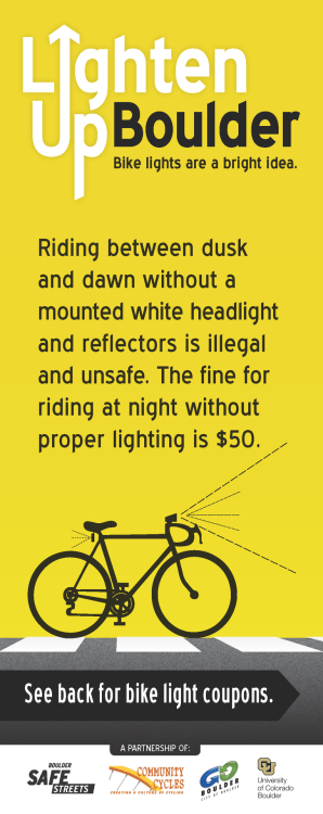 As the days get shorter, make sure to use proper lights and reflective gear while riding your bike in Boulder. Visit www.bouldersafestreets.com to learn more.