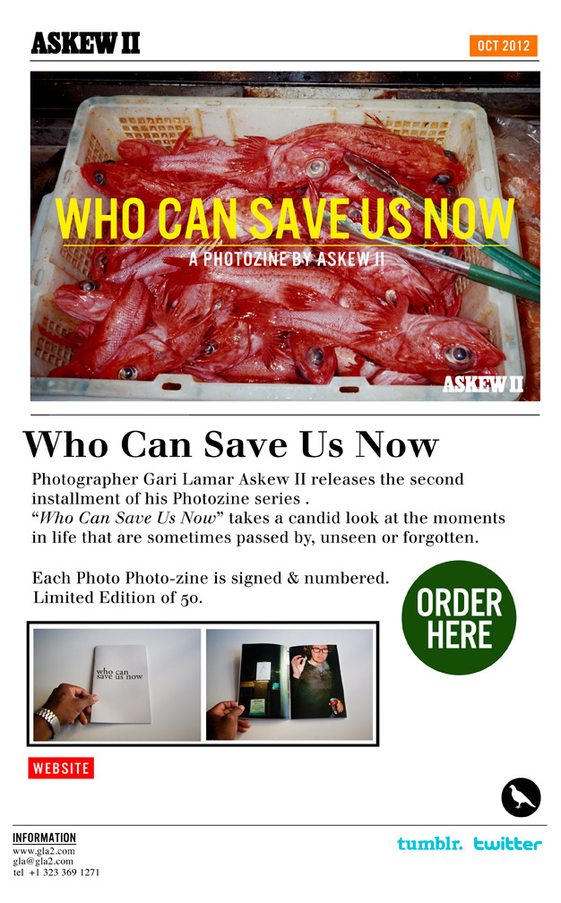 "My latest Photo-zine has just dropped. ""Who Can Save Us Now""….order your copy here First 10 orders receive a Limited Edition Camera Button. http://gla2.bigcartel.com/product/who-can-save-us-now"