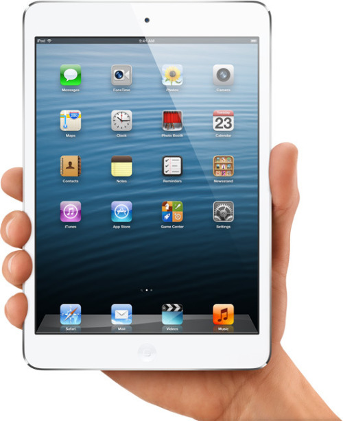 "On Tuesday, just six months after unveiling the third-generation iPad, Apple unveiled the long-rumored iPad mini along with a fourth-generation of the standard model. Despite the 100 million iPads Apple sold in just 2.5 years, Apple CEO Tim Cook said, ""we're not taking our foot off the gas."" Apple senior vice president of worldwide marketing Phil Schiller showed off both devices on Tuesday. ""You can hold it in one hand,"" Schiller said of the iPad mini, as he highlighted its aluminum and glass enclosure. ""It's incredibly thin…and beautiful from every angle."" The iPad mini is 7.2mm thick—23 percent thinner than the new, fourth-generation iPad—""thin as a pencil,"" as Schiller put it. It weighs 0.68 pounds, which is half the weight of the previous iPad. ""It's as light as a pad of paper."" (via Apple unveils iPad mini and fourth-generation iPad 