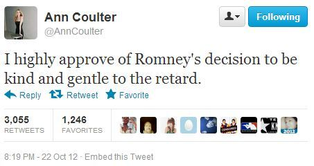 Say What Now: Ann Coulter Edition of the Day: Charming, as always. [@anncoulter]