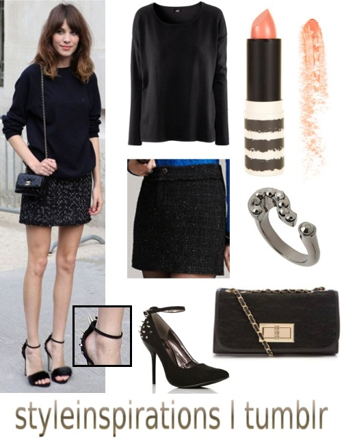 Alexa Chung in Paris :) jumper - h&m (alternative) skirt - yesstyle (alternative) heels - windsor lipstick  - topshop ring - topshop bag - new look