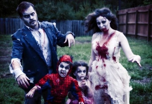 "thedailywhat:  Kids, We're All Going As Zombies This Year of the Day: ""Fine, but I'm gonna be a Spider-Man zombie!"" ""And I'm gonna be a princess zombie!"""