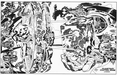 nickmaynard:  jack kirby's concept art for argo is some of the best art i've ever seen of his. seriously, wow. look at how small the guys are in the bottom right corner!  How great would this movie have been?