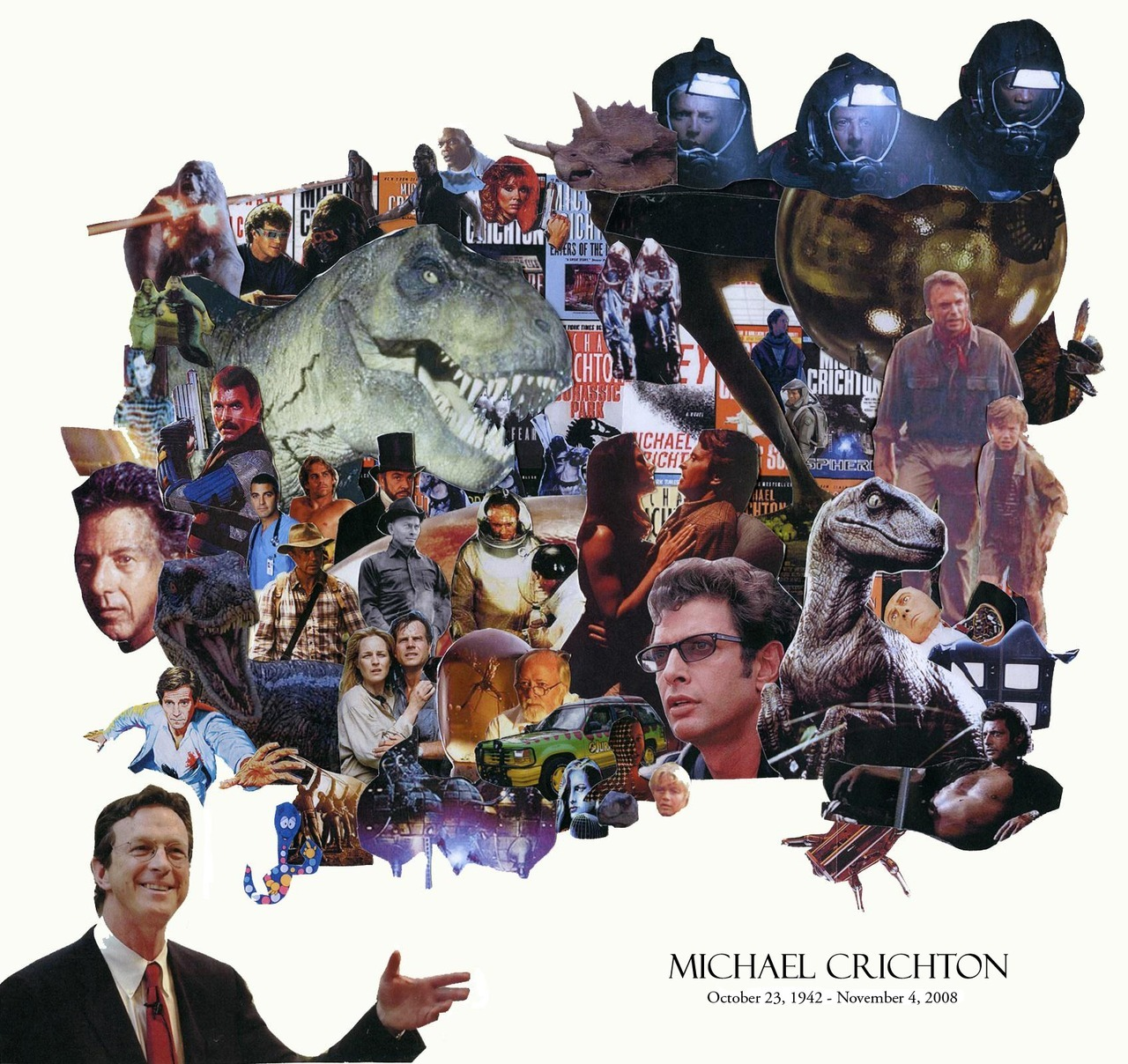 bookish:  mcnallyjackson:  Happy Michael Crichton Day everyone! Crichton would have turned 70 today. Go out and celebrate the man. Teach someone something incredibly interesting through the medium of relentless action and heart-pounding suspense.  Bookish collages are the best.  We're a day late! Check the catalogue for his books : http://goo.gl/w4u47