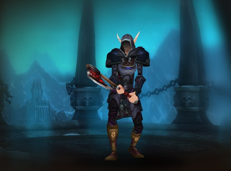 Valeria the Hallowed Female Blood Elf Death Knight US Spinebreaker [Acherus Knight's Hood] [Coldbite Shoulders] [Cristof's Crushing Cloak] [Kunchong Carapace Chestguard] [Serrated Forearm Guards] [Gauntlets of Righteous Conviction] [Scarlet Champion's Belt] [Weaponmaster's Legplates] [Angerforged Stompers] [Colossal Great Axe]