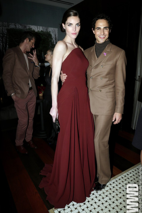 Hilary Rhoda and Zac Posen at the Harry Winston Dinner for 'The Heiress'