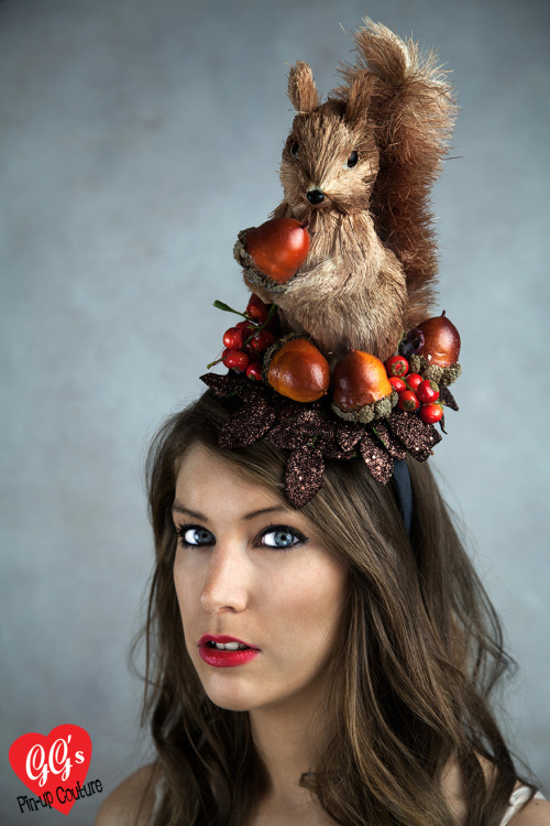 Autumnal Squirrel Fascinator Available at www.ggspin-upcouture.co.uk very soon!