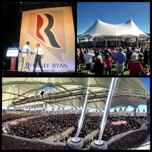 "wolfnanaki:  kennyvee:  mittromney:  America's Comeback Team in Nevada  Wow, check out the REALLY bad photoshop job Romney's team did to make it look like there were more people there. Lots of people/objects appearing twice, obvious jumps where part of the image was copied and slid over, places where the ground suddenly shifts to a new location, a pole that vanishes into thin air, etc. I guess I shouldn't be surprised…most of Romney's lies are just as blatant. Yet people still believe them no matter how much evidence is presented to them. If you think I altered the image at the top of this post, click through to the source and see it on Romney's own tumblr page. The only editing I'll do is below, adding arrows and circling just SOME of the inconsistencies. There are lots more, but I'd be circling them all night if I pointed them all out.  If Romney can't even be honest in his photographs, how do you expect him to level with you when it comes to the issues? We need a Commander in Chief, not a Desperate Liar in Chief.  They just sort of copied and pasted the same image on top of itself, and erased edges with 0% hardness. It's literally the same image twice. Hell the banner even reads ""ROMNMNEY"". Look at it!  This is why I can't vote for the guy. His campaign, his political background are nothing more than a parade of LIES. That means if he gets into the oval office, I don't know what sort of person he'll be. This is a guy who, back in the 90's, said abortion was perfectly fine and an important step for women's rights. That same guy now says it should be made a crime. This is a guy who's been known to bankrupt businesses and sell the labor to China for profit. That same guy says our current Commander in Chief knows nothing about business and that he can correct our deficit and save the middle class. This is a guy who says he loves Big Bird, but wants to cut PBS funding. This is a guy who wants peace and safety, but wants more weapons and troops in Iraq and Iran. He's not saying what he means. He's saying what he thinks people need to hear to want to vote for him. He's not trying to help anyone. He's just trying to get the position of power. And that fucking scares me."