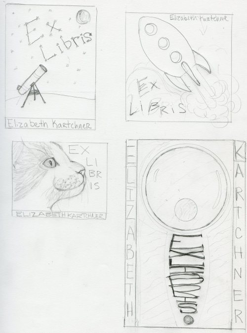 Scan of some fleshed out ideas for the ex libris sticker designs. http://creativecommons.org/licenses/by-nc/2.5/