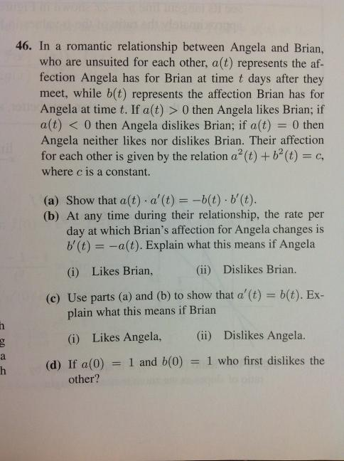"Found this while looking through my calculus textbook. Maybe if Angela and Brian could bond over their shared love (or hate) of math problems with completely artificial ""context""…"