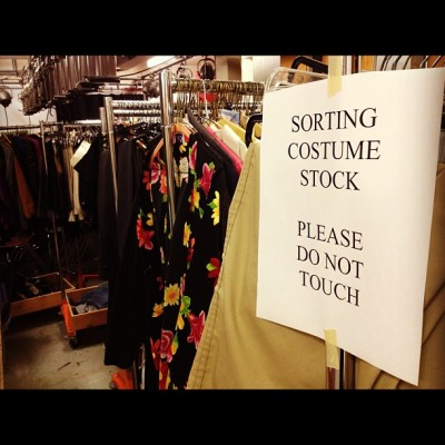 Getting ready for the mother of all costume sales! (Thur Oct 25 & 26 in our lobby) (at Frederic Wood Theatre)