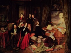 Liszt at the Piano, painted in 1840 - regarding Franz's birthday yesterday, by Josef DanhauserDanhauser (1805-1845) was an Austrian Biedermeier artist from Vienna, known also for painting the death mask of Beethoven soon after he passed away. Although appointed professor to the Academy in Vienna, he preferred travelling around Europe with his patron. Unfortunately he died young of typhus, at the age of forty.The painting of Liszt and friends was painted for piano maker Conrad Graf; it's not a depiction of any real event, since people on it had never been in Vienna all at the same time. It is an ideal group portrait of people that belonged to Liszt's Parisian circle - George Sand, Dumas the father and Victor Hugo; Nicolo Paganini, Gioachino Rossini and Liszt. Liszt is playing the piano on which stands a huge bust of Beethoven, which he indeed had in his room, only smaller, and to which all three musicians of the group are looking at. On the wall, as a painting within a painting, there is a portrait of the poet Lord Byron, another heroic presence in absence.Sitting on the floor, with her head against the piano, is Countess Marie Catherine d'Agoult, who reportedly always took that position when Liszt preformed, falling into some sort of trance ;) She was a writer that used pen name Daniel Stern and held a famous salon where many famous musicians played, including Liszt; the two fell in love and, after she abandoned her husband, lived together in Switzerland. They had three children together aming which one Cosima, the future Cosima Wagner :) Another lady of the group, George Sand, is not depicted as a lady at all - true to her self devised image she is dressed like a man and is smoking a cigar; her hand is on Dumas' open book, while her leg rests on another - a particularly interesting detail which should suggest that there should be silence while the music is being preformed. Liszt preformed series of concerts in Vienna in winter 1839-40 on Graf piano; it is however a bit odd that great champions of Graf pianos - most notably Chopin and Clara Wieck Schumann were omitted, especially since both of them used Graf's pianos much more than Liszt.