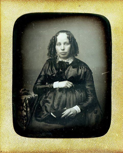 ca. 1850's, [daguerreotype portrait of a pregnant women in a fine dress and curls] via Be-Hold, Fine Photographs