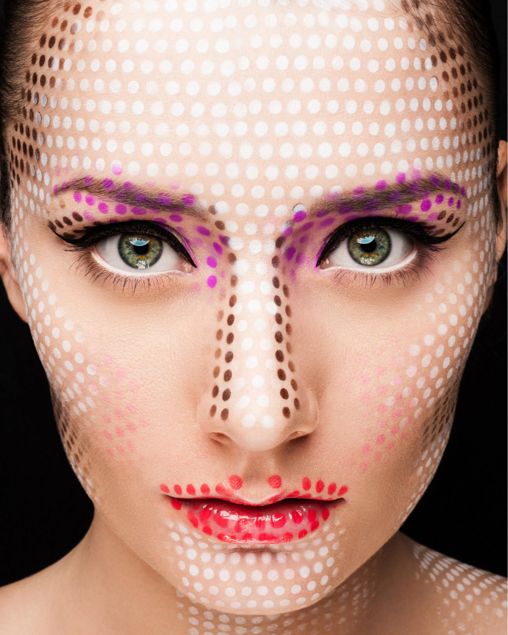 Liechtenstein inspired!  Makeup - Myself (Shonagh Scott - ShowMe MakeUp) Photographer - Martin Higgs (martinhiggs.tumblr.com) Model - Alice Christian Retoucher - Stefka Pavlova  To do this look I created a stencil out of acetate. I based my colours on makeup shades you would apply to the contours of the face, such as highlight and contour shades, eyeshadow, lipstick etc. Then using my airbrush after applying the foundation base, I sprayed on the colours!