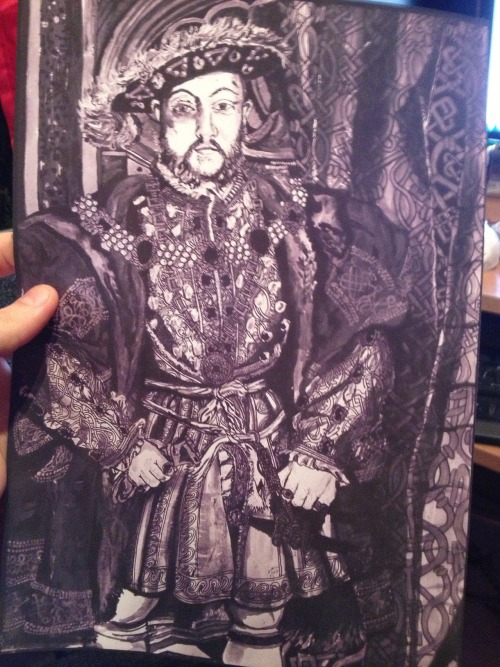 Black and white print of Henry Viii painting i did.