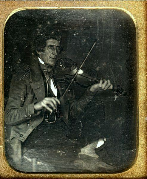 ca. 1850's, [daguerreotype portrait of a fiddler] via Be-Hold, Fine Photographs