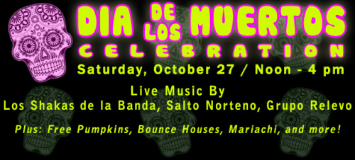 Get ready for an authentic Halloween celebration with Dia de los Muertos at Golden Gate Fields TOMORROW, October 27.  This fiesta will have live music, great prizes and dancing!  Bring the kids for a free pumpkin patch, candy, bounce house and costume contest.  The fun begins at noon and goes until 4 p.m.