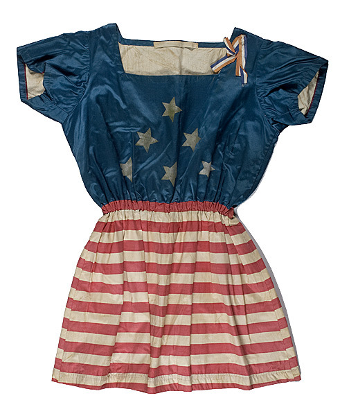 heckyesamericana:  19th cent., [patriotic satin costume, likely made for the American Centennial celebration] via Cowan's Auctions