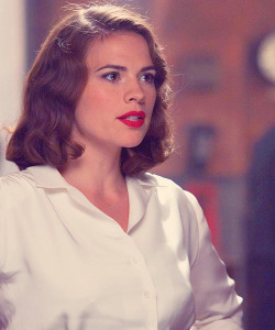 Peggy Carter, portrayed by Hayley Atwell, on the set of Captain America: The First Avenger (2011)