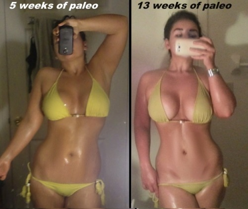 so here's the story: same bikini, side-by-side, 5 weeks and 13 weeks. The difference is between those two shots I actually started working out LESS, and cheating MORE. (Though the majority of my meals are always paleo, I just have a weakness for ice cream and alcoholic beverages.) Maybe that's why the progress plateaued. But I wanted to conduct an experiment to see how much benefit/change was due to diet alone. So there it is. A small before and after slice.