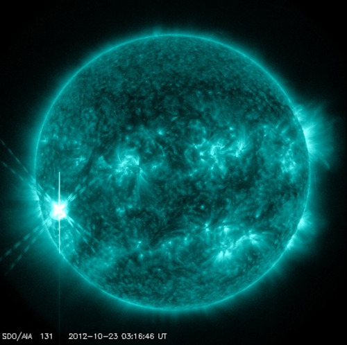 "Major Solar Flare Erupts From the Sun  The sun unleashed a powerful solar flare late Monday (Oct. 22), releasing waves of radiation into space that have already caused a short radio blackout on Earth.  The flare erupted from the sunspot AR 11598 (short for Active Region 11598), and reached peak brightness at 11:22 p.m. EDT (0322 GMT this morning, Oct. 23), according to scientists working on NASA's Solar Dynamics Observatory (SDO), a space telescope that constantly monitors the sun with high-definition cameras. It ranked as an X1.8 solar flare, one of the strongest types of solar flares, according to the U.S. Space Weather Prediction Center (SWPC) run by NOAA and the National Weather Service.  The same sunspot produced three strong flares before this one in just the two days since it became visible from Earth's perspective. ""This means more flares are probably in the offing, and they will become increasingly Earth-directed as the sunspot turns toward our planet in the days ahead,"" astronomer Tony Phillips wrote on Spaceweather.com, a website that tracks skywatching and space weather events."