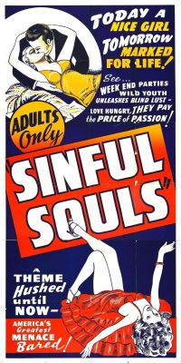 Sinful Souls Obscure 1930's Movie Poster Available as a T Shirt design starting at $10.55 US, from; http://vulturegraffix.onlineshirtstores.com Online Mail Order T Shirts