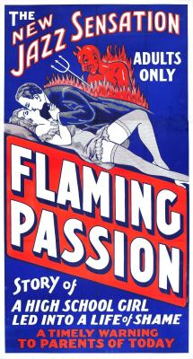 Flaming Passion Obscure 1930's Jazz Exploitation Movie Available as a T Shirt design starting at $10.55 US, from; http://vulturegraffix.onlineshirtstores.com Online Mail Order T Shirts