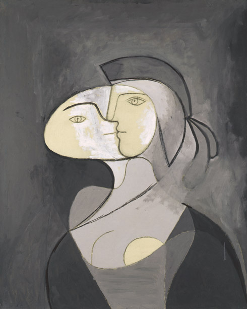 artemisdreaming:  Pablo Picasso, Marie-Thérèse, Face and Profile (Marie-Thérèse, face et profil), Paris, 1931. Oil and charcoal on canvas, 111 x 81 cm. Private collection. © 2012 Estate of Pablo Picasso/Artists Rights Society (ARS), New York. Photo: Béatrice Hatala Picasso Black and White, October 5th, 2012 through January 23, 2013 - Guggenheim info:  HERE Picasso Black and White is the first exhibition to explore the remarkable use of black and white throughout the Spanish artist's prolific career. Claiming that color weakens, Pablo Picasso purged it from his work in order to highlight the formal structure and autonomy of form inherent in his art. His repeated minimal palette correlates to his obsessive interest in line and form, drawing, and monochromatic and tonal values, while developing a complex language of pictorial and sculptural signs. The recurrent motif of black, white, and gray is evident in his Blue and Rose periods, pioneering investigations into Cubism, neoclassical figurative paintings, and retorts to Surrealism. Even in his later works that depict the atrocities of war, allegorical still lifes, vivid interpretations of art-historical masterpieces, and his sensual canvases created during his twilight years, he continued to apply a reduction of color. Picasso was born in Málaga, Spain, on October 25, 1881, to María Picasso López and José Ruiz Blasco. His father, a painter, art teacher, and curator, encouraged his son to become an artist after quickly realizing Picasso's astonishing artistic gift. Following his studies in Spain, he settled in Paris and embarked on an extraordinary career to become the most influential figure in twentieth-century art. Managing a complicated composition without having to organize contrasts of color, Picasso created such masterpieces as The Milliner's Workshop (1926), The Charnel House (1944–45), and The Maids of Honor (Las Meninas, after Velázquez) (1957). The graphic quality of Picasso's black-and-white works harks back to Paleolithic cave paintings created from charcoal and simple mineral pigments (Female Nude with Guitar, 1909), to the tradition of grisaille (Study for Sculpture of a Head [Marie-Thérèse], 1932), and to European drawing (Man with Pipe, 1923). Picasso used this distinctive motif to explore a centuries-long tradition of Spanish masters, such as El Greco, José de Ribera, Francisco de Zurbarán, Diego Velázquez, and Francisco de Goya, whose use of black and gray was predominant. Picasso's palette reveals the development of a unique working process, which he pursued until his death on April 8, 1973, in Mougins, France. His innovative works in black and white continue to influence artists today. This chronological survey, spanning 1904 to 1971, includes paintings, sculptures, and works on paper, all of which highlight the artist's choice of black, white, and gray in lieu of color. —Carmen Giménez, Stephen and Nan Swid Curator of Twentieth-Century Art, with the assistance of Karole Vail, Associate Curator
