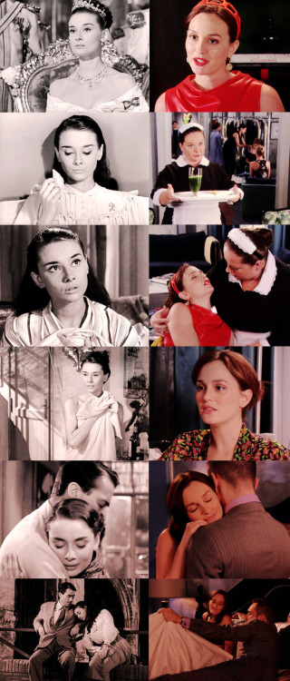 "donnashana:  So many Roman Holiday parallels in 6.03 ♥ Princes Ann / Queen B  ♥ Tiaras and Headbands Milk and crackers ♥ Energy Drink Princess Ann needs a sedative for her anxiety/panic, Blair needs an IV for dehydration. Hair in a bun ♥ Sweet hugs ♥ ""What the world needs is a return to sweetness and decency"".   The way Princess Ann rested her head on Joe's shoulder, and just fell asleep.  Blair, trusting Chuck to organize her show, and trusting him to take care of her.    And there's so much beauty and romance and sweetness between Chuck and Blair that it is hard to describe.  The implicit trust that was always there, since 1.07, when Blair said, ""Guard my drink.""  Blair, one of the most powerful women on the UES allowing Chuck to take care of her, and to help her.  And of course, the quote about sweetness and decency in the souls of young men, from Miss Audrey.  How Chuck wouldn't take advantage of Blair, the way he tucked her in, reminded me so much of when Joe lifted tiny Princess Ann and gently placed her on the bed.  The sweetness, the innocence, and all of the unspoken words.  Blairhappiness = cb being together in any capacity. ♥    full size"