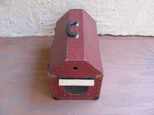 HALLOWEEN SALE: vintage c. 1950s red houndstooth pattern pet carrier  (on sale for only $33.12 now through Thurs., Oct. 25th at midnight) visit the shop to see what other spooky stuff is on sale!