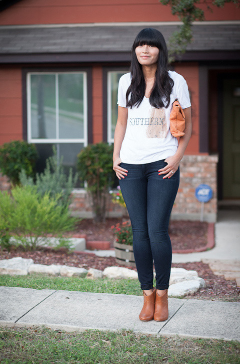 "2012. southern hospitality. southern belle tee by southward. verdugo leggings by paige. rebecca minkoff doll boots. allibelle mohawk clutch.i grew up and went to college in virginia, making me an official east coaster by texas standards but a southern girl by east coast standards. my cousins from philadelphia referred to our house as ""the country""— once i wore overalls to visit them at christmas time and never heard the end of it.when i got older, i realized that being ""southern"" involved more than saying ""y'all"" or living near rustic farms or old plantations. southern-ness meant being polite to strangers, friendly to friends, and overly adoring to your family. that's not so much country as it is simply hospitality.speaking of hospitality, would you be interested in seeing more home/food/garden/life posts on the blog? an inquiring pug wants to know. :o)the look 