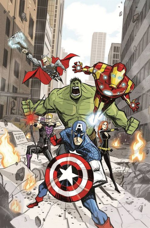 "comicsforever:  The Avengers // artwork by Bobby Rubio (2012) Variant cover for ""Avengers Assemble #9"""