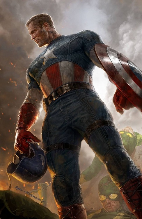 "comicsforever:  Captain America // artwork by Ryan Meinerding (2012) Variant cover for ""Captain America #1"""
