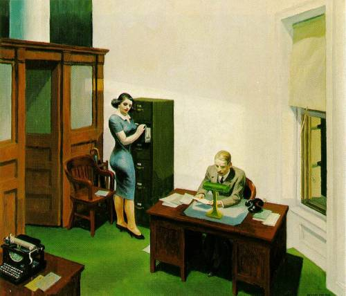 fridahallow:  office at night, edward hopper, 1940