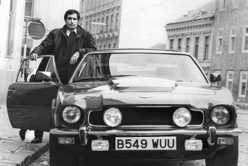Timothy Dalton in the 1987 James Bond film The Living Daylights, featuring the Aston Martin V8 Vantage. Sir Jack's: Gentlemen's Outfitters