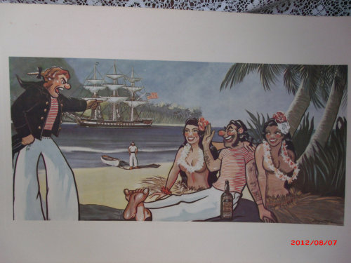 """ A Sailor Enjoying The Island Lifestyle Too Much ""  …  Vintage Repoduction Print"