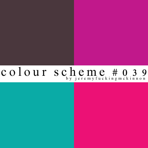 ♛ colour scheme #039 ♚by jeremyfuckingmckinnonhex codes: #4A373D #C1188B #0AABA6 #0AABA6