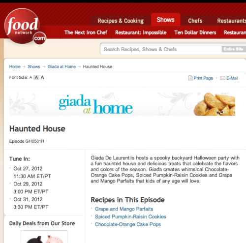 Hey, guess what! I'm gonna be on Food Network this weekend! Why, you ask? Well, I painted this totally adorable haunted house for Giada at Home's Halloween Special, and acted-a-fool in front of the camera and everything. The director was th e nicest human on the planet. I have no idea how they edited me, so please tune in and let me know if I embarrass myself?! Haha! I hear Stewart Monster makes an appearance too! Hooray! Keep an eye out for us! And Happy Almost Halloween!