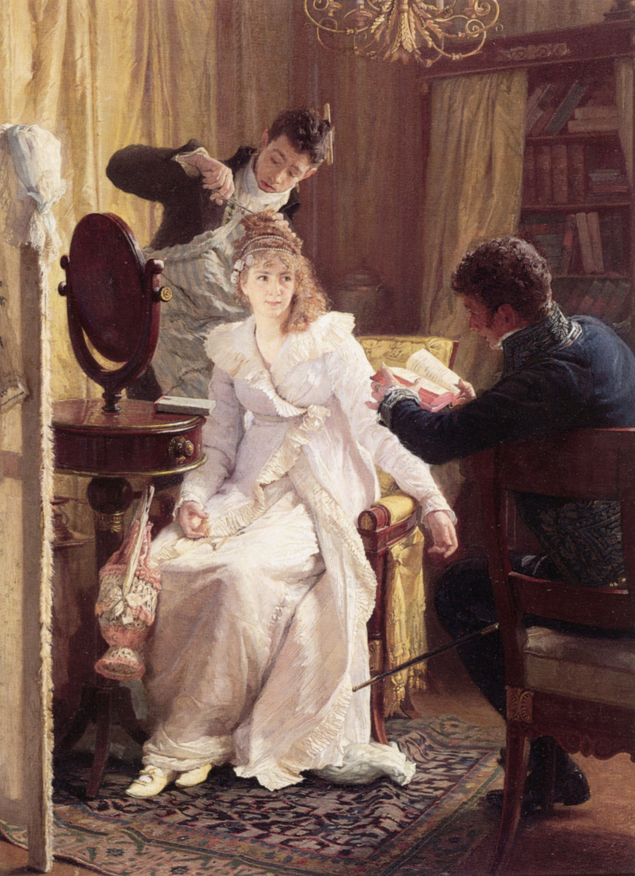 "Preparing For the Ball. Franz Xaver Simm (Austrian, 1853-1918). Oil on panel. ""…The young girls look best in light gossamer material, in tulle, crepe, or tarlatan, in pale light colors or in white, while an elderly, stout woman never looks so badly as in low-necked light-colored silks or satins, Young women look well in natural flowers; elderly women, in feathers and jewelled head-dresses."" (Excerpt from ""Manners and Social Usages,"" by Mrs. John M. E. W. Sherwood, 1887)"