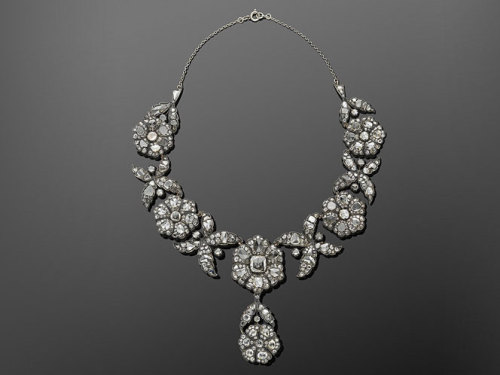 fripperiesandfobs:  Antique Rose Cut Diamond Floral Clusters Convertible Necklace Tiara, circa 1880