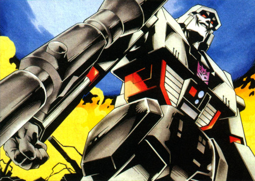 monzo12782:  Image of Megatron drawn by the ever-amazing Yoshioka, created for a Japanese laserdisc or DVD release of the original Transformers cartoon. The thing that jumps out to me about this image is, oddly, Megatron's lack of nostrils.  Scanned from a Japanese Transformers guidebook.