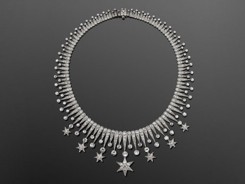 fripperiesandfobs:  Diamond Stars Fringe Necklace, American, circa 1900